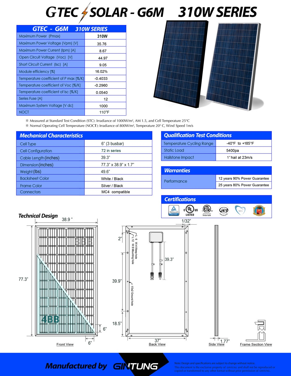 Solar Panels Manufactured By Gtec Tatung Usa Electrical Technology Series Connection Of Panel And Parallel